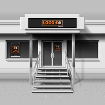 Tienda exterior de fachada para branding y banner publicitario. edificio de fachada para negocio, cafetería o fachada exterior de tienda.