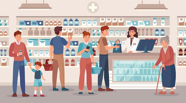 Tienda de farmacia. el farmacéutico vende varias personas de medicamentos, consultas médicas y compra de medicamentos en la ilustración de vector de farmacia. anciana, hombre y mujer con cesta comprar pastillas