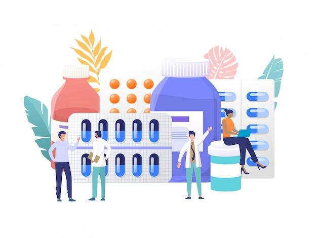 Tienda de farmacia en línea, concepto de ilustración, farmacéutico da consejos y medicamentos al cliente