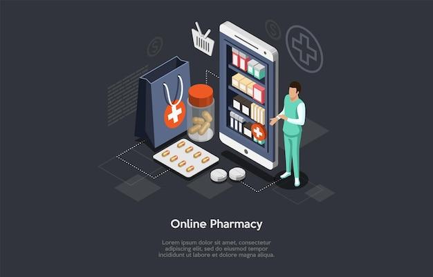 Tienda de farmacia en línea isométrica y farmacéutico médico hombre. cuidado de la salud, concepto de pedidos en línea de medicamentos