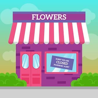 Tienda de flores cerrada por pandemia
