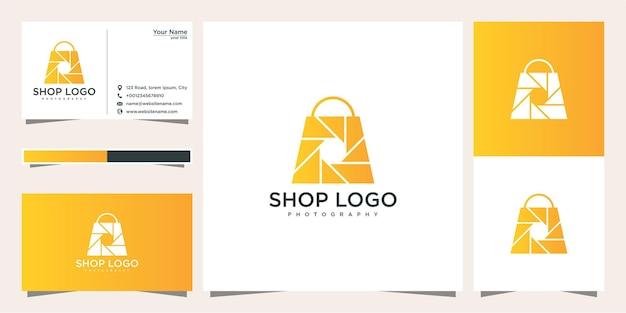 Tienda fotografía plantilla de diseño de logotipo y tarjeta de visita.