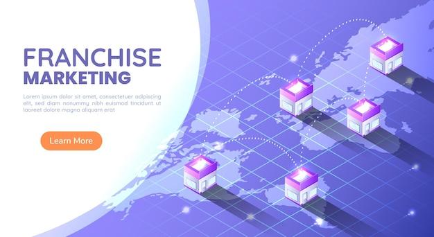 Tienda de franquicia de banner web isométrico 3d en el mapa mundial en todo el mundo. concepto de marketing empresarial de franquicia.