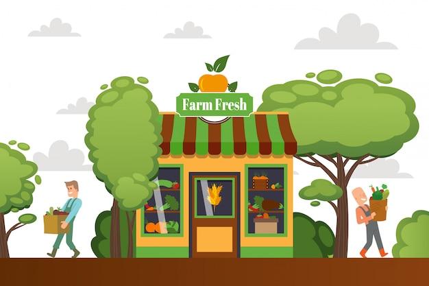 Tienda fresca de la granja, personaje masculino comprar verduras, tienda de la calle, tienda, comida de agricultura verde, ilustración plana. comida sana.