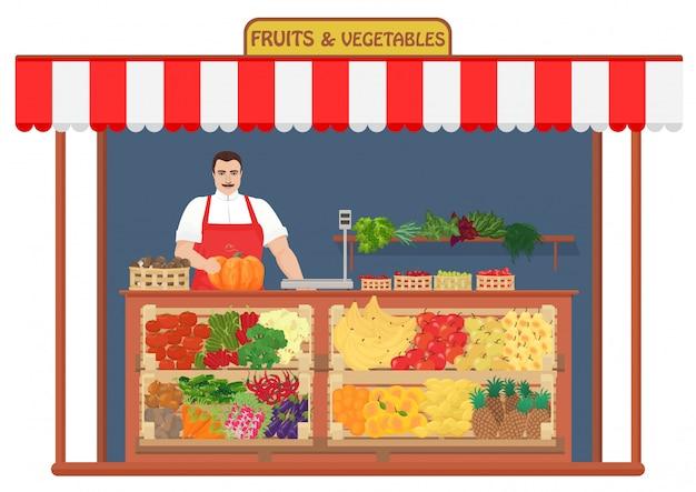 Tienda de frutas y verduras frescas.