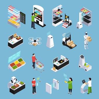 Tienda de futuros iconos isométricos