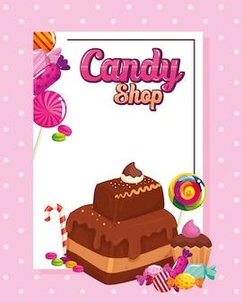 Tienda de golosinas con brownie y dulces