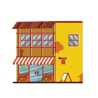 Tienda. gran casa luminosa. gran casa moderna linda. con frutas, techo, ventanas, puerta y ladrillo.