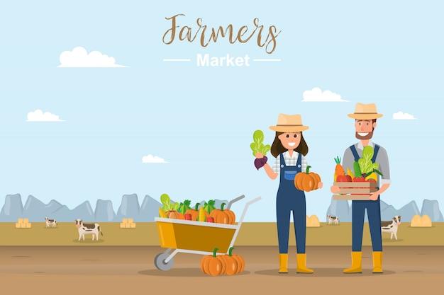 Tienda de granja. mercado local. venta de frutas y hortalizas.