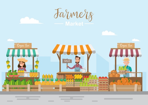 Tienda de granja. mercado local. venta de frutas y verduras.