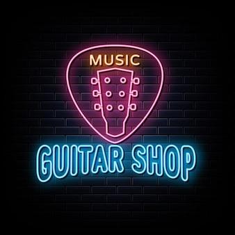 Tienda de guitarras logotipo de neón símbolo de neón