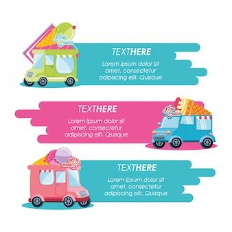 Tienda de helados set furgonetas