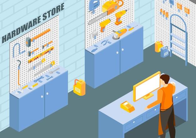 Tienda de herramientas de construcción con ilustración isométrica de ferretería