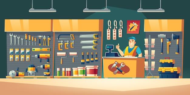 Tienda de herramientas, hardware, construcción, tienda, interior, ilustración