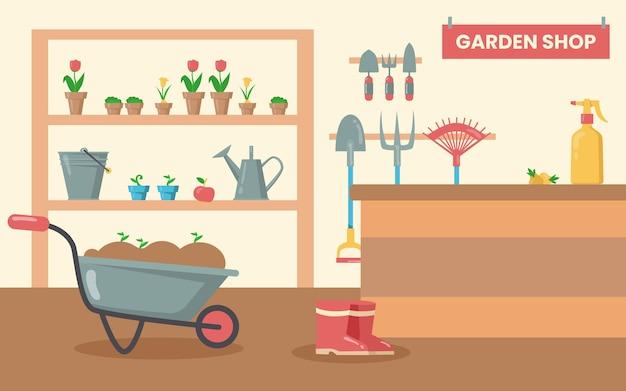 Tienda con herramientas para jardín. equipo de jardinería, pala, rastrillo, balde, regadera, pala, flores en macetas