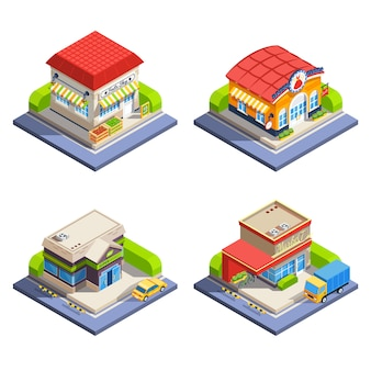Tienda isométrica conjunto de edificios
