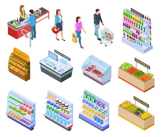 Tienda isométrica de personas. compras mercado de abarrotes productos de supermercado para clientes