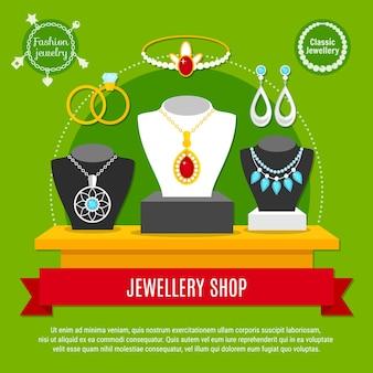 Tienda de joyas clásicas y de moda con collares, anillos de compromiso, diadema, composición.