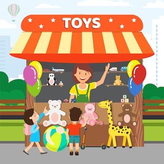 Tienda de juguetes blandos, tienda de ilustración vectorial plana