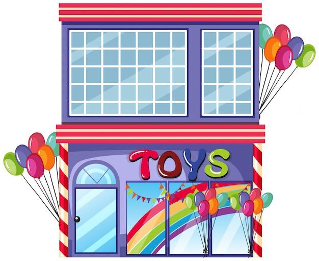 Una tienda de juguetes en el fondo blanco