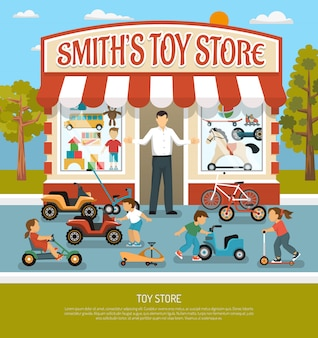 Tienda de juguetes de fondo plano