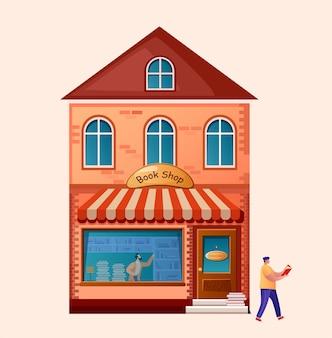 Tienda de libros. edificio de mercado exterior. . hombre de lectura. personaje elige un libro de una estantería.