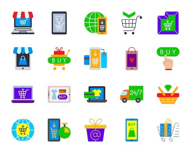 Tienda en línea, comercio electrónico, compra por internet, conjunto de iconos planos de pago electrónico.