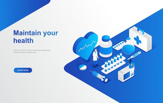 Tienda en línea de farmacia, plantilla web de página de inicio isométrica de hospital