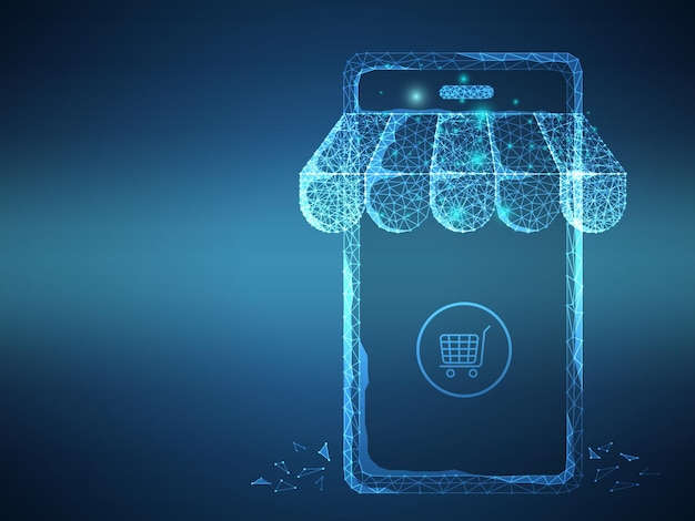 Tienda en línea futurista, tienda, compras con fondo de ilustración de vector de malla de alambre de polígono bajo de teléfono inteligente
