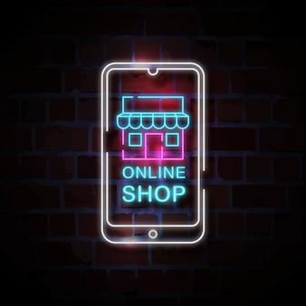 Tienda en línea en la ilustración de signo de estilo neón de teléfono inteligente