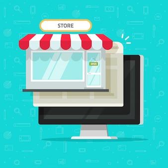 Tienda en línea o tienda de internet en computadora plana de dibujos animados
