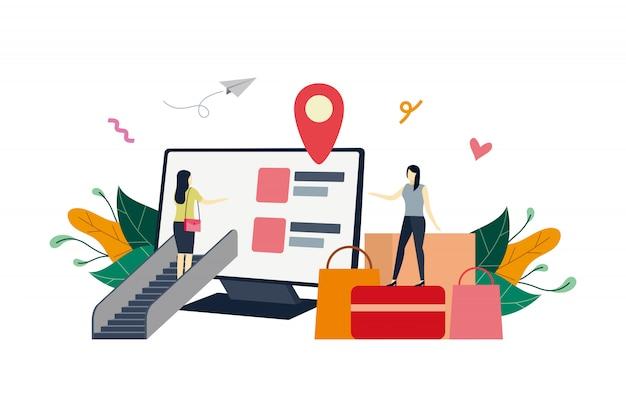 Tienda en línea en la pantalla de la computadora, ilustración plana del mercado de comercio electrónico con personas pequeñas