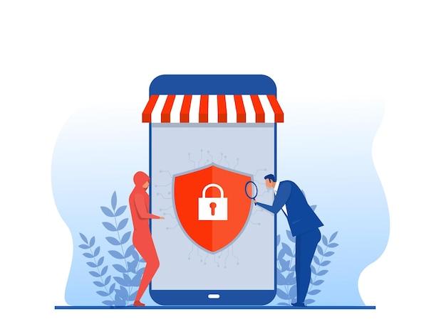 Tienda en línea de seguridad bancaria, compras seguras en línea, ilustrador de vectores