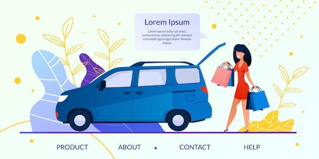 Tienda en línea, sitio web plano de la empresa minorista