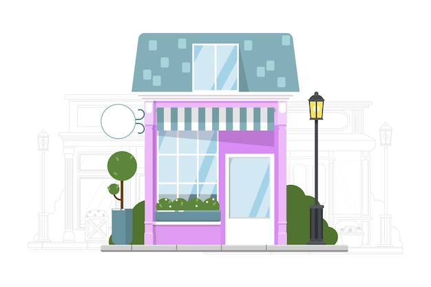 Tienda local. exterior del edificio de la pequeña tienda local y silueta de la calle adyacente. construcción de tienda con ilustración de toldo.