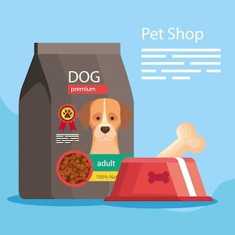 Tienda de mascotas con bolsa y plato de comida