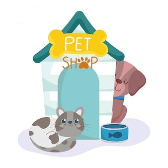 Tienda de mascotas, casa de perros y gatos manchados y dibujos animados de animales de cuenco