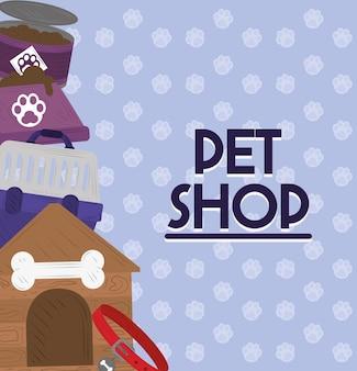 Tienda de mascotas collar tazón de comida jaula y cartel de la casa.