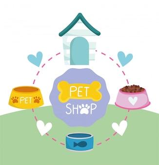 Tienda de mascotas, cuencos de comida para animales domésticos lata de pescado