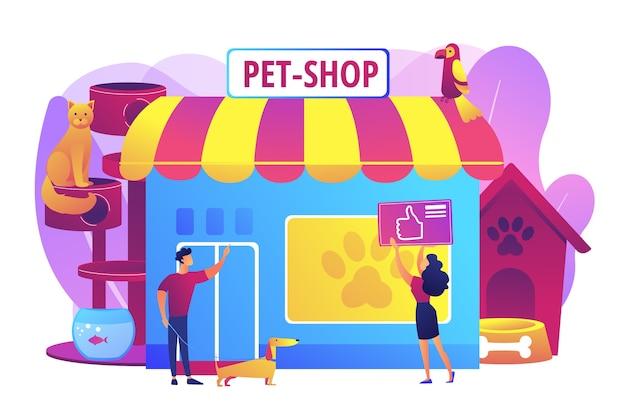 Tienda de mascotas, cuidado de perros. productos animales. gente comprando para sus mascotas. tienda de animales, los mejores suministros para animales, concepto de tienda electrónica de artículos para mascotas. ilustración aislada violeta vibrante brillante