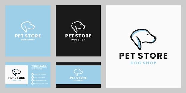 Tienda de mascotas de diseño de logotipo de perro creativo.
