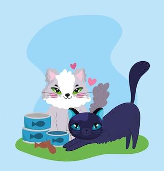 Tienda de mascotas, gatitos mullidos con lata de pescado y galletas dibujos animados domésticos de animales