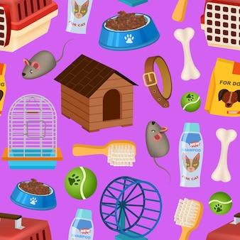 Tienda de mascotas de patrones sin fisuras en estilo de dibujos animados