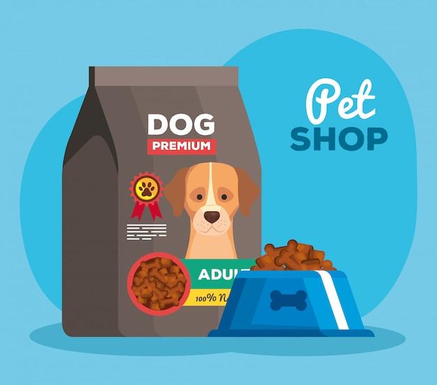 Tienda de mascotas con plato y bolsa de comida para perros, diseño de ilustraciones vectoriales