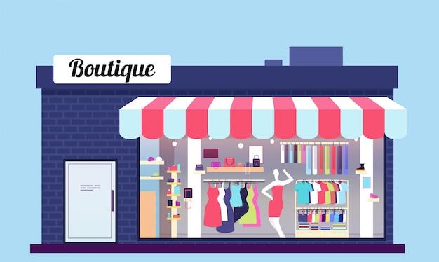 Tienda de moda exterior. salón de belleza boutique exterior con escaparate y ropa. ilustración vectorial