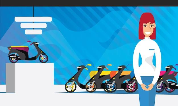 Tienda de motos con consultora plana