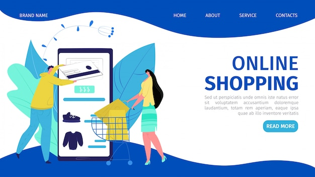 Tienda móvil en línea del negocio en la tecnología del smartphone, ilustración. la gente compra en servicio, pago por concepto de tarjeta. venta de comercio web, compras por internet en la página de inicio del teléfono.