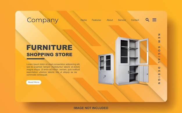Tienda de muebles de plantilla de banner web simple moderno