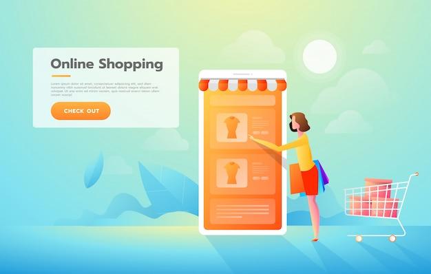 Tienda de la mujer joven en línea usando smartphone