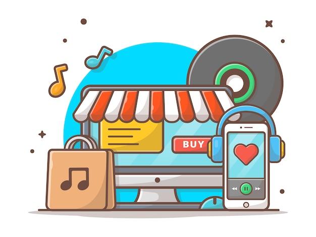 Tienda de música en línea. tienda de música con vinilo, teléfono inteligente y auriculares música vector icono ilustración. concepto de icono de tecnología y música blanco aislado